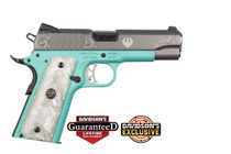 "Ruger SR1911 Commander 9mm, 4.25"" Barrel, Lightweight Robin Egg/SS Finish, 9rd Mag"