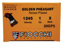 "Fiocchi Golden Pheasant 20 Ga, 2.75"", 1oz, 1245 FPS, 5 Shot, 25rd/Box"