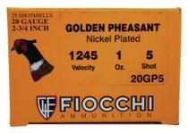 """Fiocchi Golden Pheasant 20 Ga, 2.75"""", 1oz, 1245 FPS, 5 Shot, 25rd/Box"""