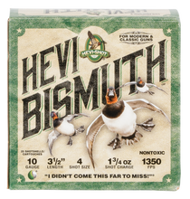 "Hevishot Hevi-Bismuth Waterfowl 10 Ga, 3.50"", 1 3/4oz, 4 Shot, 25rd Box"
