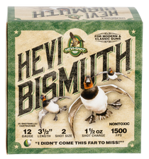 "Hevishot Hevi-Bismuth Waterfowl 12 Ga, 3.50"", 1 1/2oz, 2 Shot, 25rd Box"