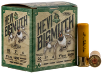 "Hevishot Hevi-Bismuth Waterfowl 20 Ga, 3.00"", 1 1/8oz, 4 Shot, 25rd Box"