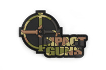 "Impact Guns Logo Patch, Camo PVC, Velcro Backed, 3""x2"""