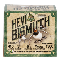 "Hevishot Hevi-Bismuth Waterfowl 410 Ga, 3"", 9/16oz, 6 Shot, 25rd Box"