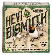 "Hevishot Hevi-Bismuth Waterfowl 16 Ga, 2.75"", 1 1/8oz, 6 Shot, 25rd Box"