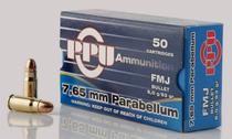 PPU Handgun 7.65 Parabellum 93gr, Full Metal Jacket, 50rd Box
