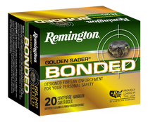 Remington Golden Saber Bonded  9mm +P 124gr, Brass Jacket Hollow Point (BJHP), 20rd Box
