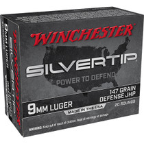 Winchester Super-X 9mm 147gr, Silvertip Hollow Point, 20rd Box
