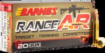 Barnes Range AR 5.56x45mm 52gr, Lead Free Open Tip Flat Base 20rd Box