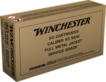 Winchester Service Grade 40 S&W 165gr, Full Metal Jacket Flat Nose, 50rd Box
