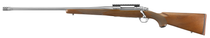 """Ruger Hawkeye Hunter 300 Winchester Magnum, 24"""" Free Floated Cold Hammer Forged Barrel, 5/8X24 Threads, Satin Stainless Finish, Walnut Stock, Left Hand, LC6 Trigger, 3rd"""