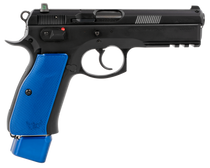 "CZ 75 SP-01 9mm, 4.60"" Bbl, 22+1 Rnd, Black Slide, Blue Henning Grips"