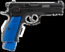 """CZ 75 SP-01 9mm, 4.60"""" Bbl,,  Rnd, Black Slide, Blue Henning Grips,  22 rd"""