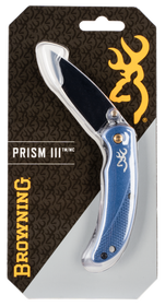 """Browning Prism II 2.40"""" 7Cr17MoV Stainless Steel Drop Point Aluminum Navy Blue Handle Folder"""