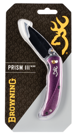 """Browning Prism II 2.40"""" 7Cr17MoV Stainless Steel Drop Point Aluminum Plum Handle Folder"""