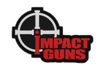 "Impact Guns Logo Patch, Black Background, PVC, Velcro Backed, 3""x2"""