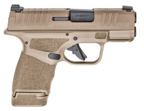 "Springfield Hellcat, Semi-automatic, Striker Fired, Micro Compact, 9mm, 3"" Barrel, Polymer Frame, Flat Dark Earth, Tritium/Luminescent Front Sight, Tactical Rack U-Notch Rear Sight, 2 Magazines, 1-13Rd, 1-11Rd"