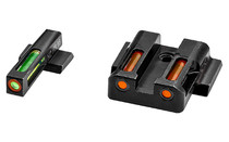 Hi-Viz LiteWave H3 Tritium/Litepipe Night Sights, M&P Fullsize And Compact In All Calibers, Green Front White Front Ring, Orange Rear
