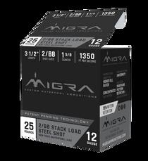 "Migra Combinational 12 Ga, 3.50"", 1 5/8oz, 2-BB Shot, 25rd Box"