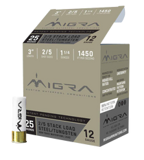 "Migra Combinational Tungsten 12 Ga, 3"", 1 1/4oz, 2-5 Shot, 25rd Box"