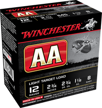 "Winchester AA Light Target Load 12 Ga, 2.75"", 1 1/8oz, 8 Shot, 100rd Box"