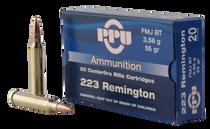 PPU Standard Rifle 223 Rem/5.56mm 55gr, Full Metal Jacket Boat Tail, 20rd Box