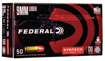 Federal American Eagle 9mm 130gr, Total Syntech Jacket Flat Nose, 50rd Box