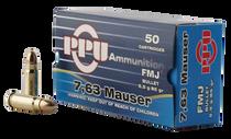 PPU Handgun 7.63mm Mauser 85gr, Full Metal Jacket, 50rd Box
