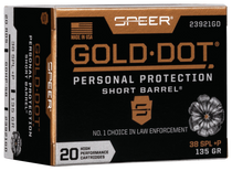 Speer Ammo Gold Dot Personal Protection 38 Special +P 135gr, Hollow Point Short Barrel, 20rd Box