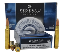 Federal Power-Shok 338 Win Mag 225gr, Soft Point, 20rd Box