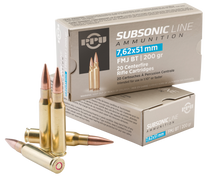 PPU Subsonic 308 Win/7.62 NATO 200gr, Full Metal Jacket Boat Tail, 20rd Box