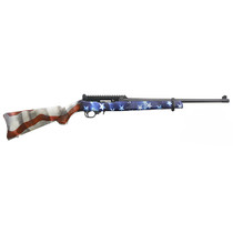 """Ruger 10/22, Carbine, Semi-automatic, 22 LR, 18.5"""" Threaded Barrel, Black Color, Satin Finish, Adjustable Ghost Ring Rear Sight, Protected Blade Front Sight, American Flag Synthetic Stock, 10Rd"""