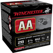 "Winchester AA Sporting Clay 28 Ga, 2.75"", 3/4oz, 8 Shot, 25rd Box"