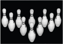 "Looper Law Enforcement Bowling Pin Targets Black and White Photo-Target with 10 Bowling Pins, Size 28x20"", 100/Pack"