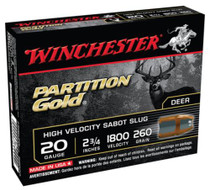 "Winchester Supreme Partition Gold 20 ga 2.75"" 260gr, Sabot Slug Shot 5Box/20Case"