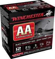 "Winchester AA Tracker Black, 12 Ga, 2.75"", #7 1/2, 1 1/8 oz, 25rd/Box"
