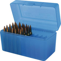 MTM Case Gard 50rd Rifle Ammo Boxes .220 Swift to .458 Winchester Mechanical Hinge Blue