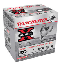 "Winchester Super-X Xpert Steel Waterfowl Load 20 Ga, 3"", 1500 FPS, .875oz, 2 Steel Shot, 25rd/Box"