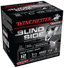 Winchester Blind Side Steel Hex Magnum Waterfowl 12 Gauge, 3.5 Inch, 1400 FPS, 1.625 Ounce, 2 Shot, 25rd/Box