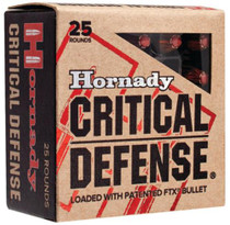 Hornady Critical Defense 380 ACP 90gr, Nickel-Plated Case, FTX, 25rd Box