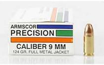 Armscor 9mm 124gr, FMJ, 50rd/Box