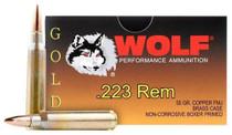Wolf Gold 223/5.56 NATO Full Metal Jacket 55gr, 20 Per Box, Range Safe
