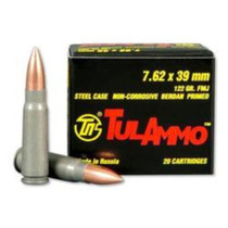 TulAmmo 7.62x39mm, 122 Gr, FMJ, Steel Case, Steel Case, 40rd/Box