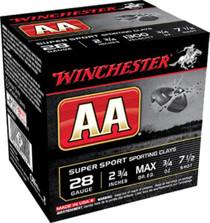 """Winchester AA Wads Sport Clay 28 Ga, 2.75"""", 3/4oz, 7.5 Shot, 25rd/Box"""