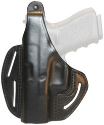 Blackhawk Three Slot Leather Pancake Holster Black Left Hand For Sig 220/226