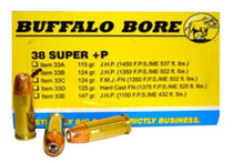 Buffalo Bore Ammunition 38 Super +P JHP 124gr, 20rd/Box
