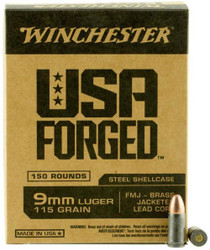 Winchester 9mm 115 Gr, FMJ, Steel Case, 150rd Box
