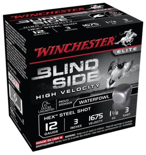 "Winchester Blind Side Steel Hex High Velocity Waterfowl 12 Ga, 3"", 1675 FPS, 1.125oz, 3 Shot, 25rd/Box"