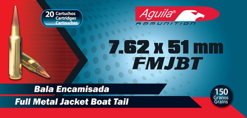 Aguila 7.62x51mm, 150 Gr, FMJ Boat Tail, 20rd/Box