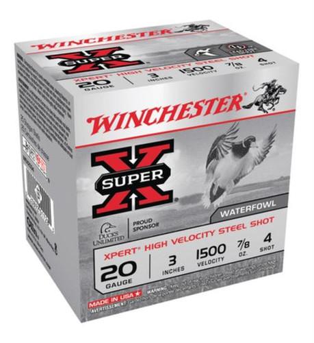 "Winchester Super-X Xpert Steel Waterfowl Load 20 Ga, 3"", 1500 FPS, .875oz, 4 Steel Shot, 25rd/Box"